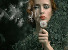 Obsure ({jessica drossin}) Tags: jessicadrossin portrait woman dandelion dream conceptual green leaves wwwjessicadrossincom nature art pretty eyes lips hair detail white wind chaos beauty
