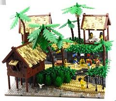 Native Pearling Village - Interviewing the Headman (Ayrlego) Tags: lego islander brethrenofthebrickseas bobs corrington îledor oleon