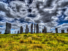 The Ghosts have Returned (RS400) Tags: scotland hdr callanish stone circles circle landscape blue sky wow amazing wicked travel grass clouds art people ghost photography stones olympus