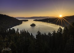 Emerald Bay Sunrise (jen_moss) Tags: emeraldbay emerald bay laketahoe lake tahoe sunrise sunburst sunstar forest pine southshore 89 highway89 californiastatepark california statepark