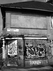 Abandonment (the justified sinner) Tags: justifiedsinner brighton bw abandoned house graffiti panasonic minolta rokkorx 45 2 md gx7