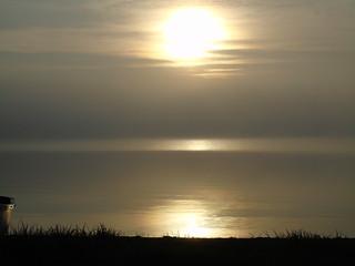 Sun setting in the mist