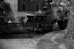 Emerging from the tunnel (Biscuits1960 (DaveG)) Tags: canal barge weedonbec bw monochrome tunnel