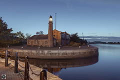 Whitby Lighthouse. (alundisleyimages@gmail.com) Tags: lighthouse whitby ellesmereport maritime architecture dusk canal manchestershipcanal waterways industriallandscape channel cranes cheshire england uk nikon d750 fence chain vista northwestengland shipping ports evening weather