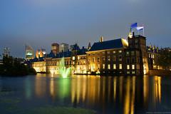 Hofvijver in The Hague (elpupy) Tags: evening night water netherlands haag binnenhof kneuterdijk flag denhaag den reflection hague inner court hofvijver thehague fontaine skyline city