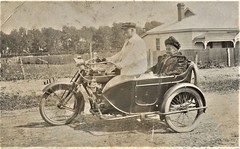 Mother and son  on a motorbike in Bevington Road, Frewville, S.A. - 1906 (Aussie~mobs) Tags: motorbike motorcycle vintage southaustralia friley mrsriley eriley mother son bevingtonroad frewville 1906 house home residence norton aussiemobs