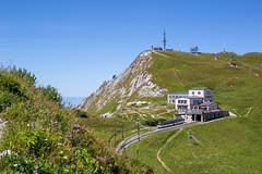 Rocher de Naye (Yo Gui) Tags: suisse rocher de naye montreux vaud lac montagne verdure champs pic antenne bleu vert train crémaillère goldenpass paysage pelouse ciel