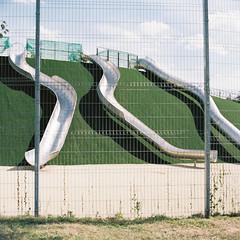Closed playground (belousovph) Tags: portra160 mediumformat analog film portra kodak 120 zenzanon bronica zenzanon80mm28 zenzanonps80mm light russia minimal atmospheric sky square playground