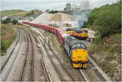 37716. Struggling .......... (Alan Burkwood) Tags: peakforest drs 37716 diesel locomotive freight aggregate quarry db wagons wheelslip