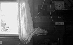 Ekaterinburg, 2018 (gregorywass) Tags: dacha country house ekaterinburg bw curtain lace bedroom afternoon nap summer august 2018