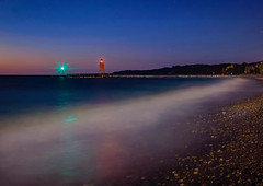 The Roaring or the Waves (T P Mann Photography) Tags: lakemichigan charlevoixmichigan charlevoix michigan lake sea seascape waves lighthouse pier shore night longexposure