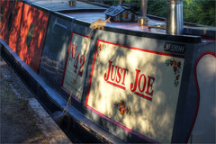 Just Joe, evening, Wootton Wawen, Warwickshire (alanhitchcock49) Tags: stratford canal wootton wawickshire webheath digital photographic club boats just joe boat shadows light evening