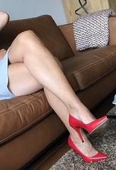 MyLeggyLady (MyLeggyLady) Tags: toe crossed upskirt sex hotwife milf sexy secretary teasing miniskirt thighs minidress feet cleavage leather pumps stiletto cfm red legs heels