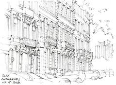 Liège, quai des Tanneurs (gerard michel) Tags: belgium liège architecture maison sketch croquis crayon