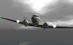 "C47 KK116 departs Fiji Airport (Jenny ""Oxymoron"" D) Tags: c47 dc3 vintage aviation slaviation second life firestorm fiji airport classic aircraft"