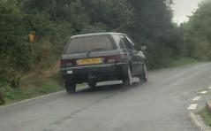 1992 Peugeot 405 GLD Estate (occama) Tags: j782krl 1992 peugeot 405 gld estate old car cornwall uk french cornish reg grey silver rain mist road