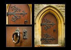 Church Door, St Mary Abbots, Kensington (S.R.Murphy) Tags: church churchdoor door wood iron metal polyptych triptych stmaryabbots kensington england uk gb lightroomcc stuartmurphy fujifilmx100t sirgeorgegilbertscott architecture neogothic london bayswater