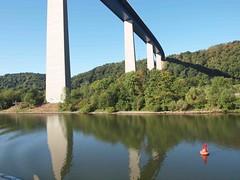 Dieblich Autoibahn Bridge over the Moselle (saxonfenken) Tags: 3041rhine 3041 bridge moselleriver splashofred reflection autobhan white columns challengeyouwinner gamewinner