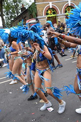 DSC_8379 Notting Hill Caribbean Carnival London Exotic Colourful Blue and Silver Costume with Ostrich Feather Headdress Girls Dancing Showgirl Performers Aug 27 2018 Stunning Ladies (photographer695) Tags: notting hill caribbean carnival london exotic colourful costume girls dancing showgirl performers aug 27 2018 stunning ladies blue silver with ostrich feather headdress