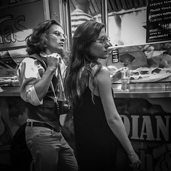Food Truck Couple (tim.perdue) Tags: food truck couple columbus ohio downtown urban city commons man woman girl person figure boy two street candid black white bw monochrome profile glasses hair camera