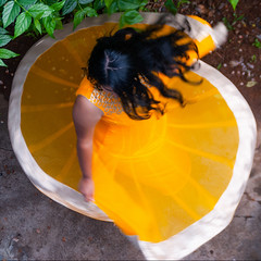 Twirl! (Bhuvan N) Tags: girl dress unconcerned brunette yellow fashion portrait portraits portraiture twirl hair movement nikon tamron india indian fun anarkali spin