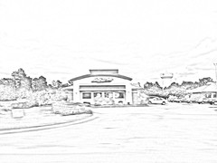 Pizza Hut With Effect. (dccradio) Tags: lumberton nc northcarolina robesoncounty outdoor outdoors outside retail building architecture sky clouds august summer summertime evening friday pencilsketcheffect fx effects pizza pizzahut restaurant parking parkinglot watertower paved pavement grass lawn car truck sign signs window windows tree trees bw blackwhite blackandwhite