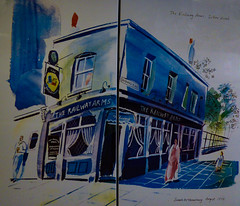 The Railway Arms (Steve Taylor (Photography)) Tags: therailwayarms tube mural pub inn beer pint shadwellplace welcome sarahmcmenemy august1995 corner beergardenatrear cooleddraught leadedlights art picture blue woman lady child man girl uk england london gb greatbritain underground tree