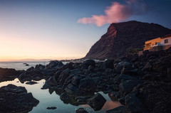 Valle Gran Rey, La Gomera (f25design) Tags: mountain rock ocean landscape sea water coast sky nature outdoors promontory sunset dawn outdoor seashore cliff rocky headland hill beach gomera canaryislands