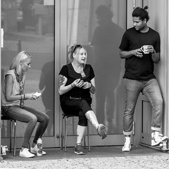 short break from work (every pixel counts) Tags: 2018 berlin street people ca capital city germany everypixelcounts blackandwhite 11 blackwhite square bw prenzlauerberg berlinalive eu employee tattoo