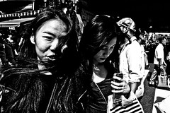 Ueno Crossing (Victor Borst) Tags: street streetphotography streetlife reallife real realpeople asia asian asians faces face candid hot lady ladies females female woman women girl girls blackandwhite bw mono monotone monochrome city cityscape citylife beautiful hair fuji fujifilm xpro2 expression ueno tokyo japan japanese portrait crossing shopping