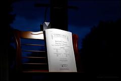 Nocturnal practice (G. Postlethwaite esq.) Tags: dof fourseasons lightroom vivaldi viveza afterdark bokeh depthoffield lamp music musicstand night photoborder selectivefocus sky trees violin window
