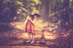 Twins (Ro Cafe) Tags: photomanipulation photoshop ps fantasy surrealism conceptual naive childs girls path forest bubbles bokeh