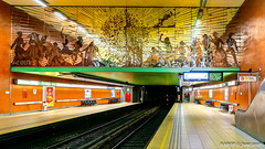 Brussels, Belgium: Thieffry metro station (Line 5); Artist Vic Gentils' mural of tinted mirrors, AEQUUS NOX, portrays all races on the planet. (nabobswims) Tags: be belgium brussels bruxelles hdr highdynamicrange ilce6000 lightroom metro mirrorless nabob nabobswims photomatix rapidtransit sel18105g sonya6000 station subway thieffry ubahn
