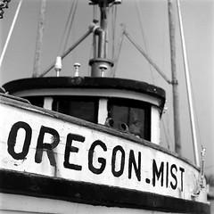 Oregon Mist (bac1967) Tags: ilfordpanf50 ilford ilfordfilm ilfordpanfplus50 blackandwhite blackandwhitefilm blackwhite black white bw monotone monochrome beerenol beerol pabstblueribbonbeer pabst pabstblueribbon caffenol oregon charleston charlestonor marina charlestonmarina fishing oregoncoast pacificnorthwest pnw pacificcoast weathered decay nautical fishingboat oregonmist