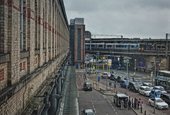 Gritty City (whosoever2) Tags: uk united kingdom gb great britain england nikon d7100 train railway railroad september 2018 manchester tpe transpennine class350 emu taxi city station wall bridge