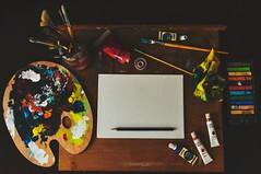 Artwork Equipment Set - Credit to https://www.semtrio.com/ (Semtrio) Tags: art materials artwork canvas color palette colorful coloring colors colours creative creativity design desk from above illustration paint brush paintbrush painting pencil set table tubes workspace