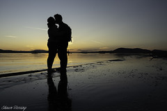 Sunset (Shawn Herring) Tags: silhouette sunset high contrast couple kissing ocean beach sidney spit british columbia bc reflection blue hour shawn herring sony a7 iii a7iii boating pacific northwest pnw