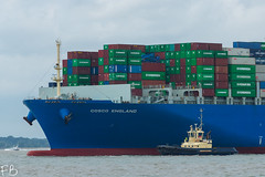 Cosco England (frisiabonn) Tags: vehicle ship water england uk britain marine vessel river sea shore waterfront maritime boat outdoor felixstowe shotley harwich orwell stour cosco large container carrier cargo port harbour docks