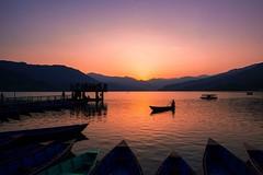 Beautiful pokhara. (ujjal.maharjan) Tags: pokhara nepal beauty lake phewalake taal sunset landscape nature view boats