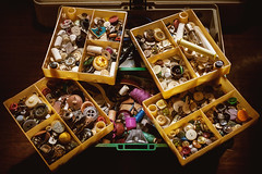 Box Full of Buttons For Sewing (dejankrsmanovic) Tags: sewing object accessory button container box detail closeup stilllife model cloth fabric business work tool equipment industrial craft skill oldfashioned domestic working concept conceptual studio industry fashion design designing creation creative structure thread manufacturing manufacture service repair vintage retro bunch group sort