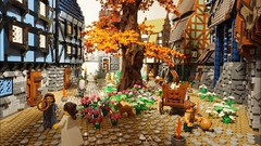 LEGO Medieval WIP 5 (DK_Titan) Tags: medieval layout wip haraldsborg klodsfest 2017 building modular lego 10193 moc classic castle timbered house toys roof cobblestone minifig minifigure dog goat afol wood scene