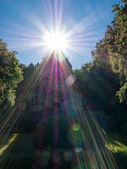 Holy Glow (bayernphoto) Tags: starnberger see lake bayern bavaria berg aufkirchen koenig ludwig ii wittelsbacher gedenken kreuz gedächtnis votivkapelle sonnig sommer holy glow shining sunstar sonnenstern shine strahlenkranz chapel church divine light licht spitze