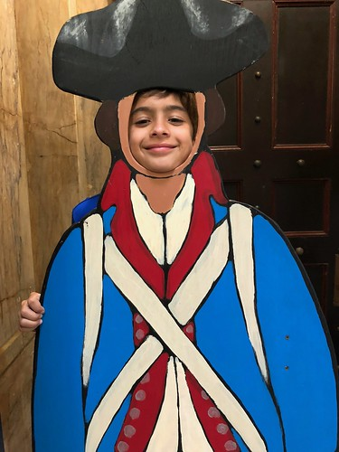 Alex at USS Constitution, 'dressed up' as a Minuteman