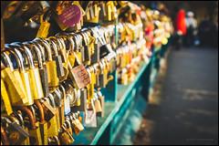 More locks than you can shake a stick at (G. Postlethwaite esq.) Tags: bakewell dof derbyshire fujx100t macro beyondbokeh bokeh bridge closeup depthoffield fullframe lovelock padlocks photoborder redcoat selectivefocus