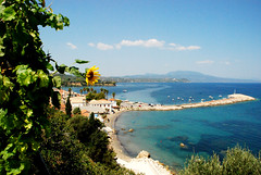 View from Koroni castle (jimiliop) Tags: view sea town koroni greece peloponnese blue green sunflower