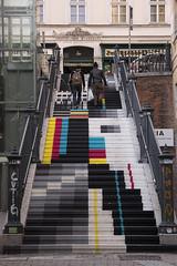 Color Bars - Streets of Vienna (konceptsketcher) Tags: street photography 2018 konceptsketcher vienna wien art stairs tv urban people amonstiege