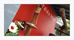 tralala (overthemoon) Tags: switzerland suisse schweiz svizzera romandie vaud montreux hotel tralala red winepress wood metal cogs frame phone lesplanches rope angle slant hibiscus