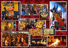 Collage of The Hungry Ghost Festival - Penang (ShambLady) Tags: hades hell notes hungry ghost festival penang gt george town georgetown jetties chinese tradition bonfire burning prayer praying fire colorful malaysia 2014
