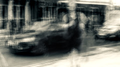The runner (Zara.B) Tags: abstract blackandwhite bw blur experimenting monochrome motionblur mobilephonecamera impression iphone intentionalcameramovement icm slowshutterapp