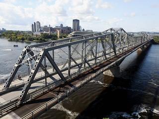 The Alexandra Bridge, built in 1900, linking Ottawa, Ontario and Hull, Quebec.